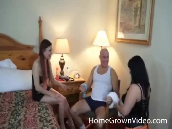 Girls tie up guy